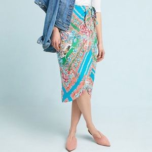 Maeve by Anthropologie Bette 100% silk wrap skirt